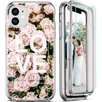 FIRMGE for iPhone 11 Case, with 2 x Tempered Glass Screen Protector 360 Full-Body Coverage Hard PC+Soft TPU Silicone 3 in 1 Military Grade Heavy Duty Shockproof Phone Protective Cover Rose Pattern 02