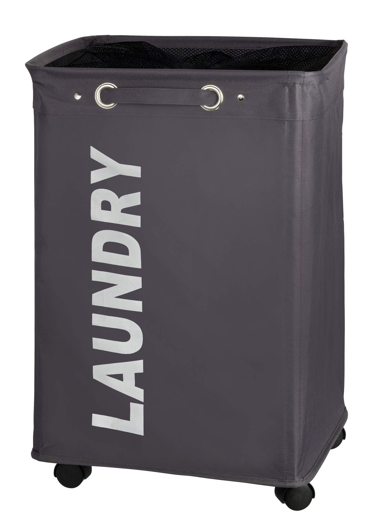 WENKO Grey Quadro Bin, Slim Laundry Basket on Wheels with Handle and Mesh Screen Cover, with Water-Repellent Fabric Inside, 20.86 Gallon, 15.7 x 23.6 x 13 inch