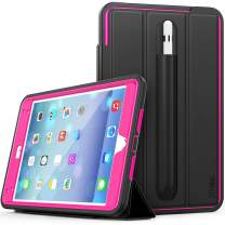 SEYMAC iPad Mini 5 Case, Smart [Protective Cover] Auto Sleep Wake with Stylus Holder, Three Layer Drop Protection Heavy Duty Stand Case for iPad Mini 5th/4th Gen-Black/Rose