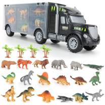 LBLA Dinosaur Truck Carrier Transport Car Dinosaurs Toys for Toddlers Kids Safari Animal Figures Playset for Boys Girls 3, 4, 5, 6, 7 Year Old, 23 Pieces