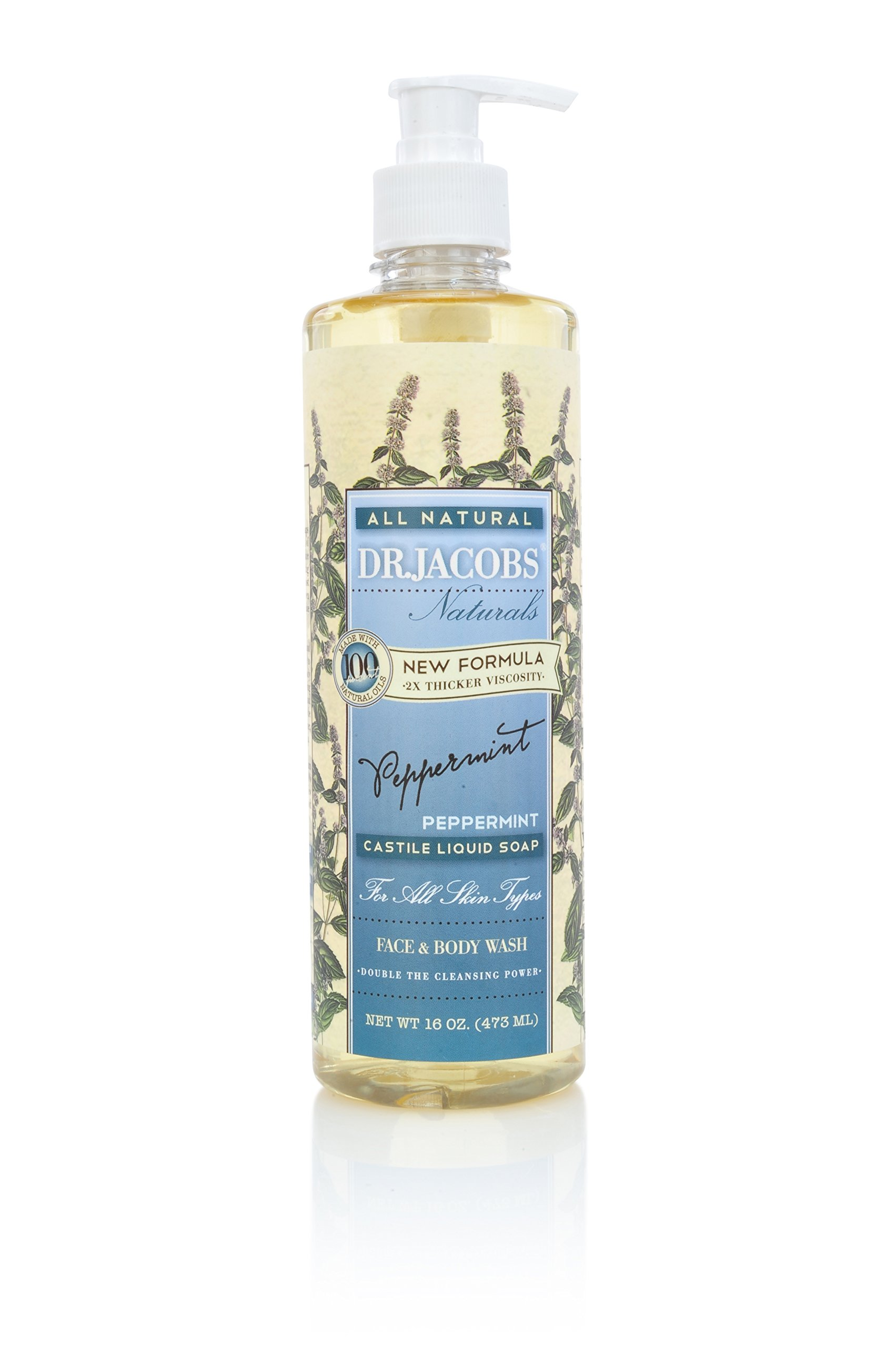 DR.JACOBS NATURALS Pure Castile Liquid Soap - Natural Face and Body Wash 16 oz. (Peppermint)