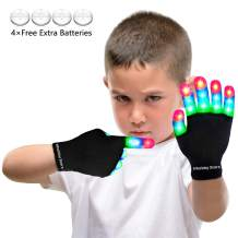 LED Flashing Finger Lighting Gloves, Colorful Light Up Toys with Extra Batteries for Kids 3 4 5 6 7 8 9 10 Years Old,Camping Outdoor Games Dark Party Favors Sensory Glow Toys, Best Gift for Christmas