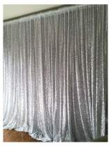 B-COOL Silver Sequin Backdrop 8ft x 8ft Sequin Backdrop Wedding Photo Booth Photography Backdrop Curtain Photography backdrops Photo Background Sequin Fabric Backdrop