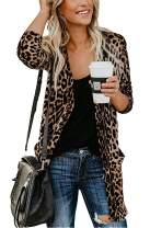 Mengya Women's Leopard Prints Cardigans Sweater with Pockets Long Sleeve Button Down Open Front Shirt