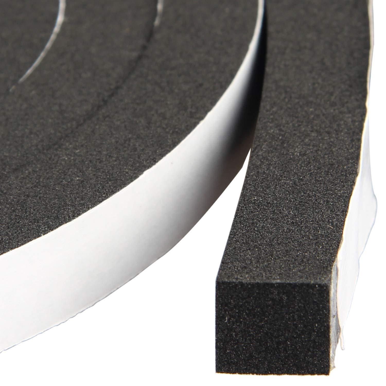 High Density Foam Tape Waterproof Sealing Strip CR Strips Neoprene Single-Sided Adhesive EVA Seal 1/2in X 1/2in X 13Ft