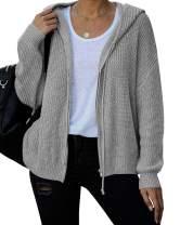 Ferbia Women Hooded Cardigan Sweater Oversized Slouchy Batwing Knit Jacket Zip Up Lightweight Baggy Cute Knitted Coat