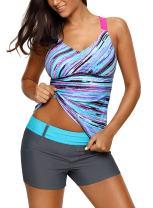 Actloe Women Printed Strappy Racerback Tankini Swim Top Summer Swimwear S-XXXL