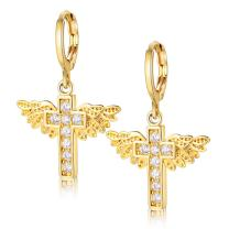Uloveido Cubic Zirconia Brass Angel Wing Cross Earrings for Women Gold Color/Platinum Plated Y199