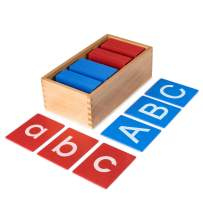 BleuZoo Uppercase and Lowercase Alphabet Montessori Style Sandpaper Letters - 52 Letters and Wooden Storage Box