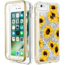 Caka iPhone 6s Plus Case, iPhone 6s Plus Floral Glitter Full Body Case Built in Screen Protector Flower Clear Bling Sparkle Girly Women Cute Liquid Case for iPhone 6s Plus 6 Plus (Sunflower)