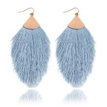RIAH FASHION Bohemian Silky Thread Tassel Statement Drop Earrings - Strand Fringe Lightweight Feather Shape Dangles, Chandelier Duster