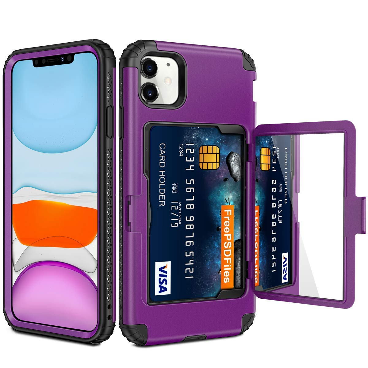 Vofolen for iPhone 11 Case Wallet Credit Card Holder Slot Heavy Duty Full-Body Protection Hybrid Bumper Armor Protective Hard Shell with Makeup Mirror Back Pocket Front Bumper for iPhone 11 6.1 Purple