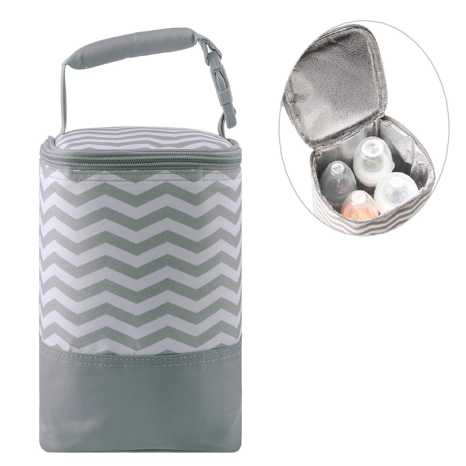 Insulated Baby Bottle Bag for Daycare - MBJERRY Size Upgrade Breastmilk Cooler Bag Baby Bottle Tote Bags, Easily Attaches to Stroller(Gray Wavy Stripes,Fits up to 4 Large 8 Oz. Bottles)