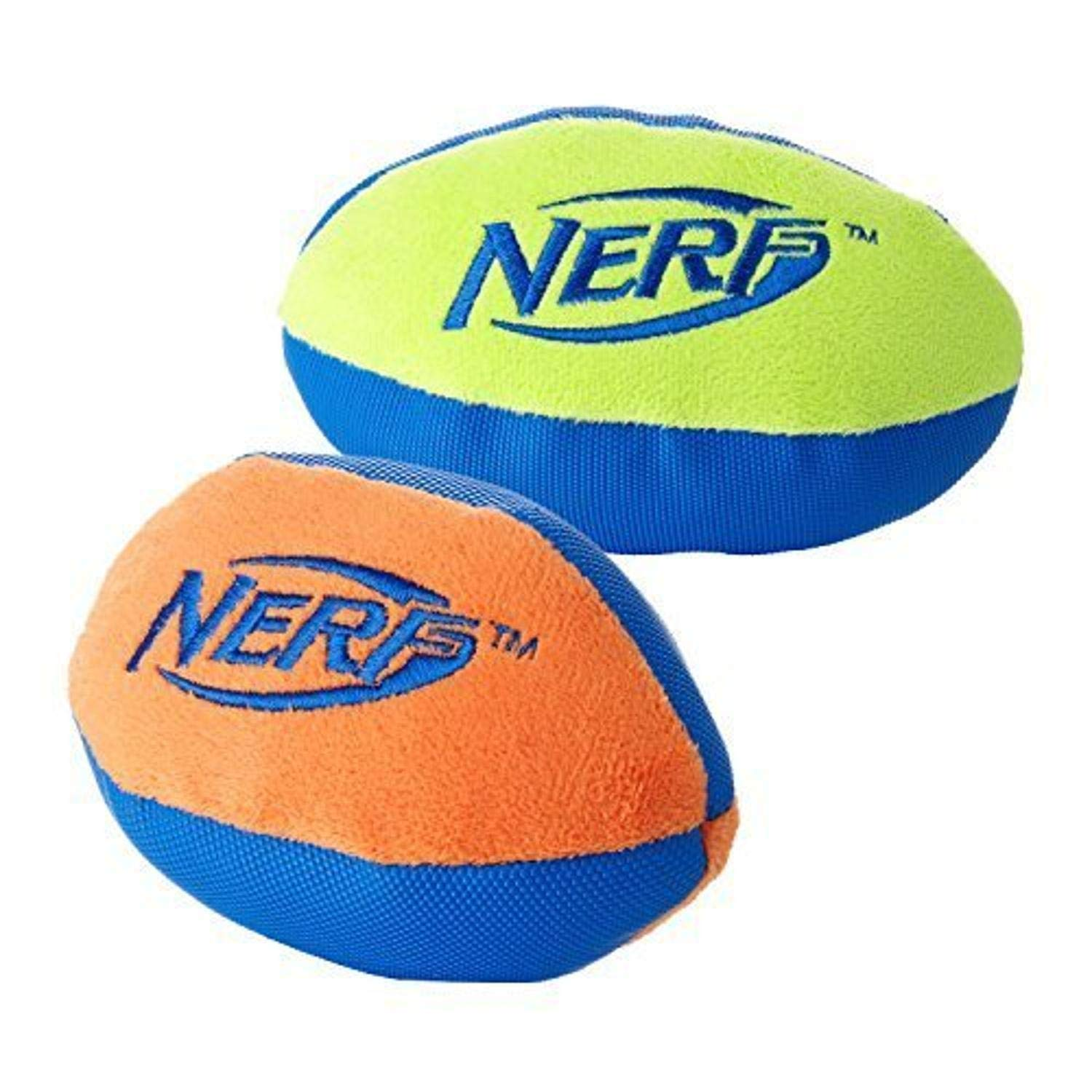 Nerf Dog Trackshot Football Dog Toy, Lightweight, Durable and Water Resistant, 7 Inches for Medium/Large Breeds, Two Pack, Green/Blue and Orange/Blue