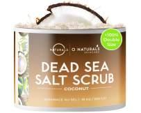 O Naturals Exfoliating Dead Sea Salt Coconut Face Body & Foot Scrub. Hydrating Exfoliate Dead Skin, Best Anti Cellulite Acne Treatment Ingrown Hairs, Calluses Treatment For Men & Women Best Gift 18oz