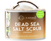 O Naturals Exfoliating Dead Sea Salt Coconut Face Body & Foot Scrub. Hydrating Exfoliate Dead Skin, Best Anti Cellulite Acne Treatment Ingrown Hairs, Calluses Treatment For Men & Women Best Gift 18oz