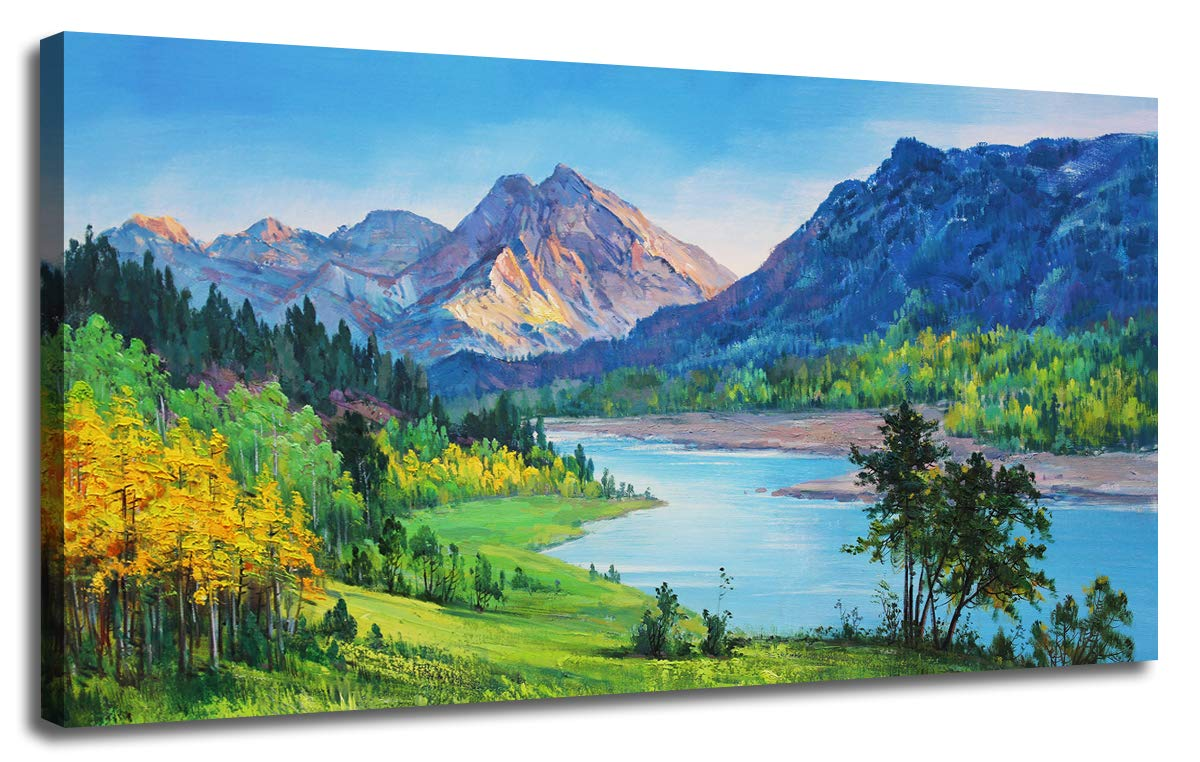 """Ardemy Canvas Wall Art Nature Mountain Blue Stream Scenery Painting, Landscape Green Teal Panoramic Picture Artwork Framed for Home Office Living Room Bedroom Wall Decor One Panel 40""""x20"""""""