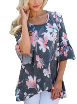 HUUSA Womens' Casual Short Sleeve V Neck Floral Button Down Blouse Top
