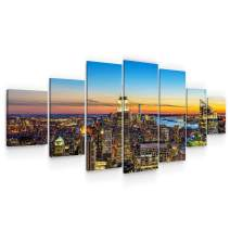 "Startonight Huge Canvas Wall Art - Sunset in The City - Home Decor - Dual View Surprise Artwork Modern Framed Wall Art Set of 7 Panels Total 40"" x 95"""