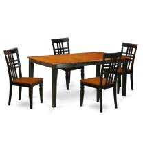 5 PC Kitchen Table set with a Nicoli Table and 4 Dining Chairs in Black and Cherry