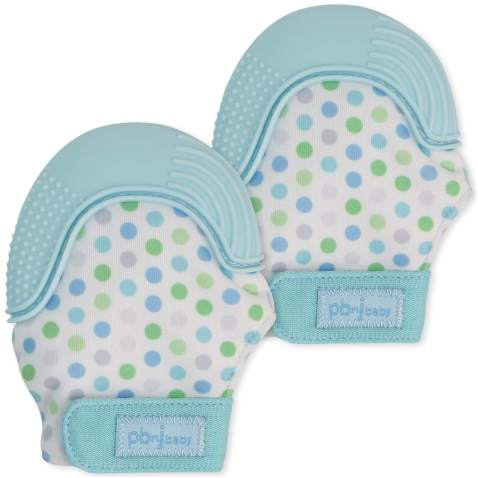 PBnJ baby Silicone Infant Teething Mitten Teether Glove Mitt Toy with Travel Bag-Blue Dot 2pk
