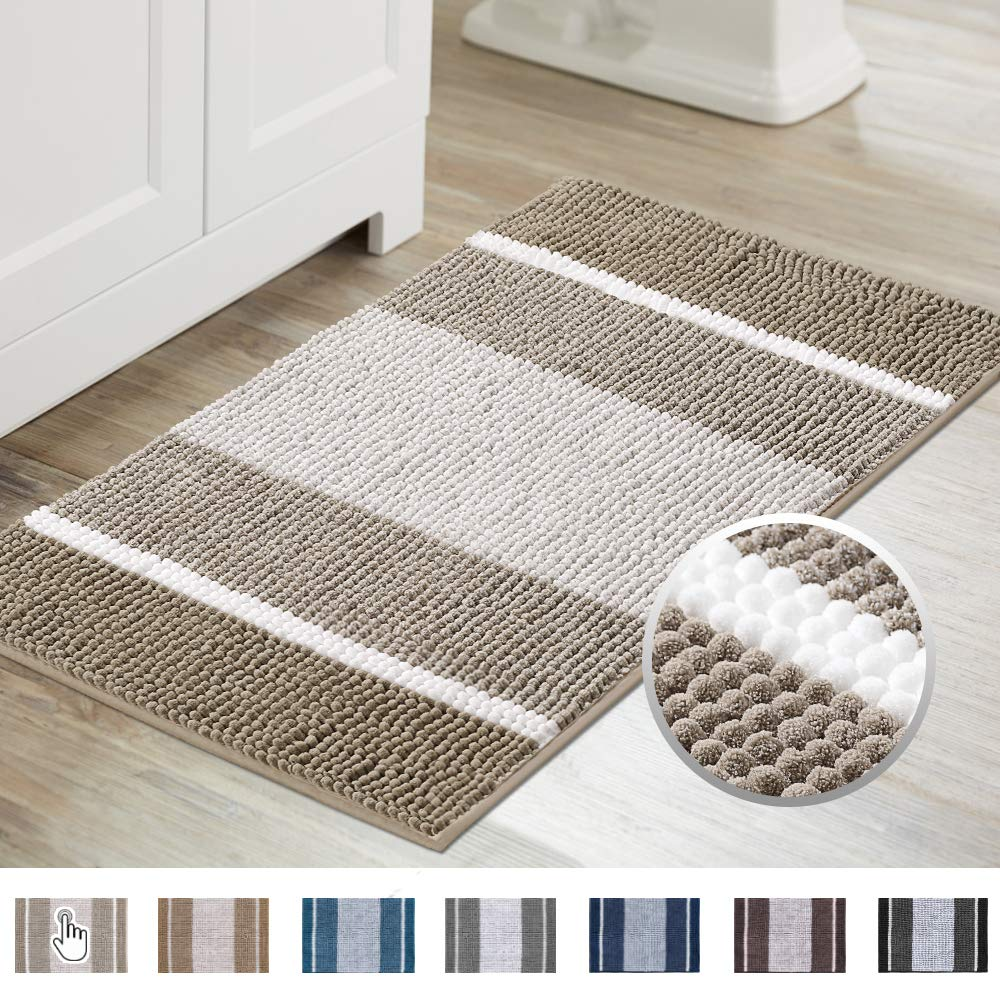 Super Absorbent Tufted Chenille Rug with Non Slip Backing, Gradient Taupe Stripe Pattern Microfiber Bath Rug, Machine Washable Thick Bathroom Floor Mat for Tub Shower, (20×32 inch, Taupe)