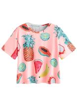 ROMWE Women's Allover Fruit Print Top Short Sleeve Cute T-Shirt