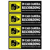 Camera Audio Video Recording Window Cars Stickers – 4 Signs Removable Reusable Indoor Dashcam in Use Vehicles Warning Decals Labels Bumpers Static Cling Accessories for Rideshare Taxi Drivers (Yellow)