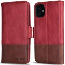 KEZiHOME iPhone 11 Wallet Case, iPhone 11 Flip Case, [RFID Blocking] Genuine Leather Folio Case Cover with Credit Card Holder Stand Function Magnetic Closure for iPhone 11 6.1 inch (Red/Brown)