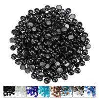 Hisencn 1/2 Inch Fire Glass Beads for Indoor & Outdoor Fire Pit, Fireplace, Fire Bowls, Garden Landscaping Decorative Accessories, High Luster Tempered Glass Rocks, Onyx Black Luster, 10 Pounds