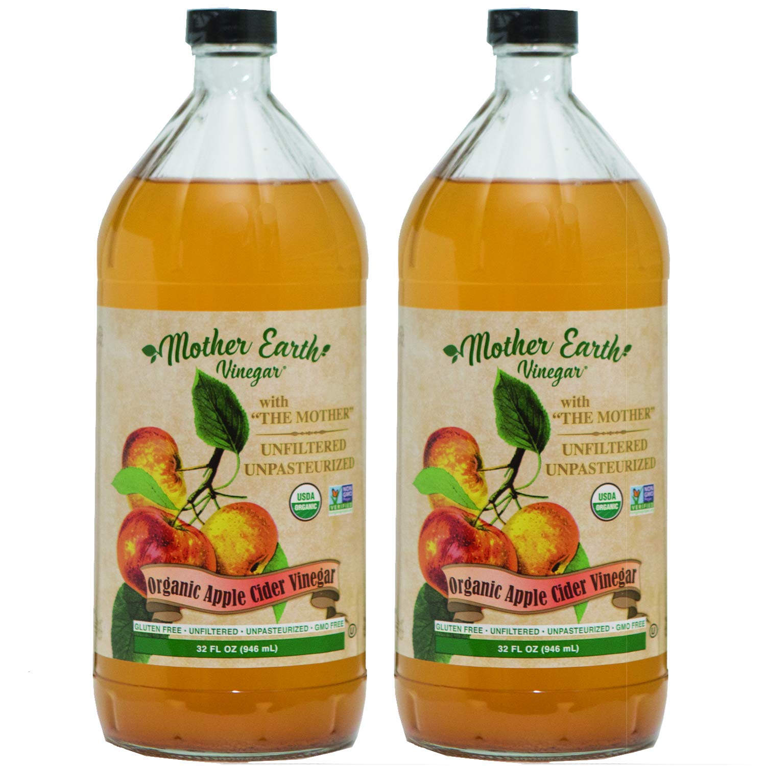 Mother Earth, Organic Apple Cider Vinegar with The Mother, Fermented with Fresh Pressed Organic Apples, OACV, ACV, Raw, Unpasteurized, Unfiltered (2/32oz Glass Bottles)