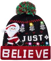 RAISEVERN Unisex Ugly LED Christmas Hat Novelty Colorful Light-up Stylish Knitted Sweater Xmas Party Beanie Cap(6 Lights)