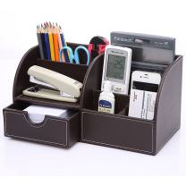 KINGFOM PU Leather Office Desk Organizer, 7 Compartments + Drawer Business Card/Pen/Pencil/Mobile Phone/Stationery Holder Storage Box, Multifunctional Collection Caddy (Full Brown Leather)