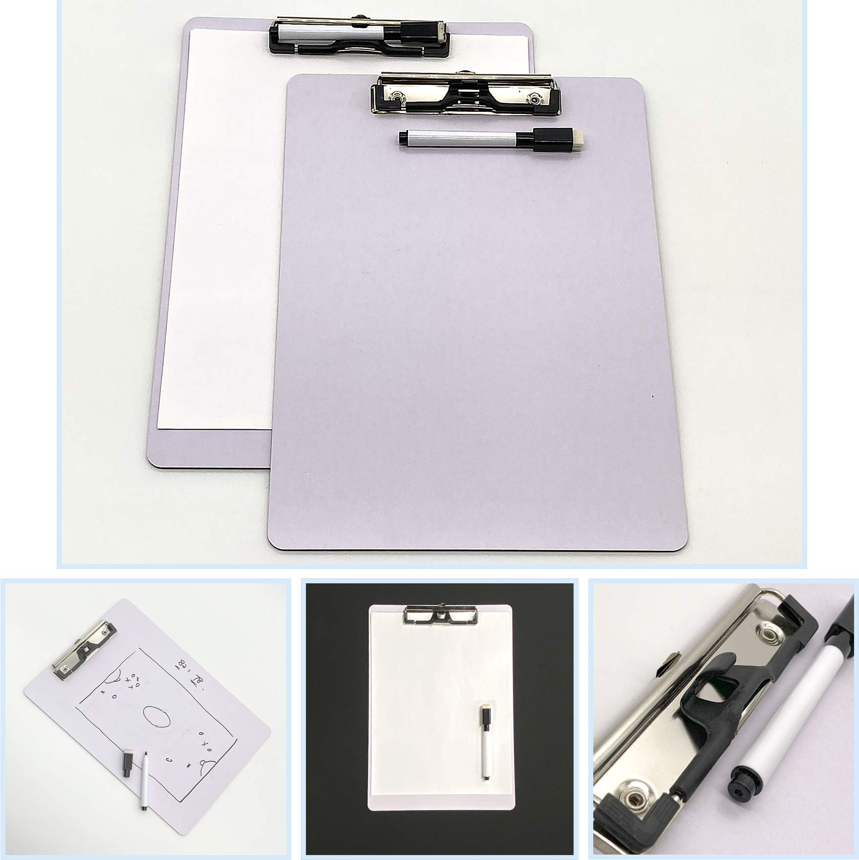 JCHB 2 sets Letter Size Dry Erase White Board Clipboard with Pen Clip, Marker & Eraser great for teachers meeting note, students writing practice, kids drawing game, classroom double sided whiteboard