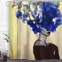 "Baccessor Black Girl Shower Curtain Afro African American Woman Lady Hair Shower Curtain Hip Pop Bathroom Decor with Hooks,Waterproof Polyester Fabric, 60"" W x 72"" H (150CM x 180CM) - Blue Hair Girl"