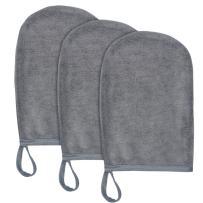Sinland Microfiber Facial Cleansing Gloves 3-Pack Reusable Facial Cloth Pads Makeup Remover Glove Facial Mitt