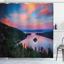 "Ambesonne Lake Tahoe Shower Curtain, California Photography Rustic Themes Sundown Time Freshwater Sierra Nevada Lake, Cloth Fabric Bathroom Decor Set with Hooks, 70"" Long, Pink Green"