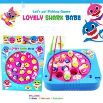 JX Fishing Game Toy Set with Single-Layer Rotating Board with On/Off Switch for Quiet Play Includes 15 Fish and 2 Fishing Poles Gift for Toddlers and Kids (Red)