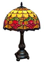 """Amora Lighting Tiffany Style Table Lamp Banker 19"""" Tall Stained Glass Red Yellow White Floral Tulips Antique Vintage Light Decor Nightstand Living Room Bedroom Handmade Gift AM1094TL12B, Multicolored"""