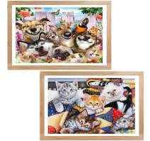 5D Diamond Painting Pet Full Drill by Number Kits, Ginfonr Craft Rhinestone Paint with Diamonds Set Arts Decorations, Garden Animals & House Kitten (12'' x 16'', 2 Pack)