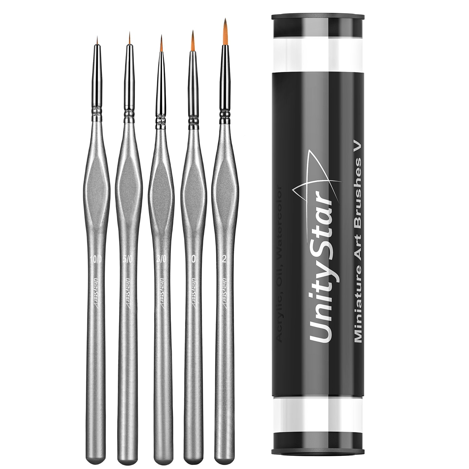 UnityStar 5-Set Miniature Paint Brush Detail Set for Fine Detailing, Acrylic, Watercolor, Model, Art and Face Painting, Plastic Holder Included
