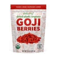 Wholeberry organic wolfberry gouqi Goji berries 16oz  Raw, Vegan, Gluten Free Super food High in Plant Based Protein, Dietary Fiber, Vitamin A & Iron   Large