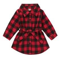 Kids Baby Girls Christmas Shirt Dress Xmas Plaid Long Sleeve Belt Clothes Outfit