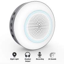 Baby Sound Machine, White Noise Machine for Sleeping Baby Adults Kids, Sound Machine and Baby Night Light with 24 Soothing Sounds, DIY Recording, Timer, Memory Function for Home, Travel, Office, Hotel