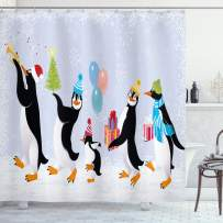 "Ambesonne Christmas Shower Curtain, Group of Penguins in Caps Walking on Snow with Surprise, Cloth Fabric Bathroom Decor Set with Hooks, 84"" Long Extra, Soft Lavender"