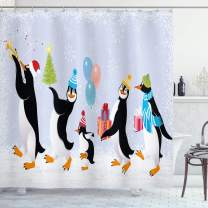 """Ambesonne Christmas Shower Curtain, Group of Penguins in Caps Walking on Snow with Surprise, Cloth Fabric Bathroom Decor Set with Hooks, 70"""" Long, Soft Lavender"""