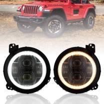 FieryRed 9 inch LED Headlights w/DRL & Turn Signal for Jeep Wrangler JL 2018-2020, High Low Beam Function Halo Angel Eyes Headlight, 1 Year Warranty