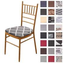 Padgene Stretch Printed Dining Chair Seat Covers, Removable Washable Anti-Dust Dinning Upholstered Chair Seat Cushion Slipcovers Protective Covers with Ties (4 Pcs, Printed Grey)