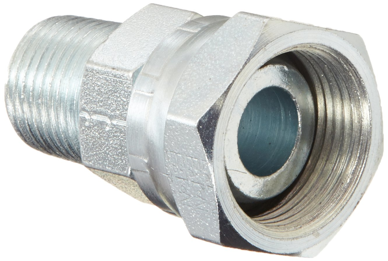 "Eaton Weatherhead 9205X12X8 Carbon Steel Fitting, Swivel, Adapter, 3/4"" NPSM Female x 1/2"" NPT Male"