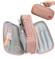Pencil Case Pen Bag Holder Pouch Large Handle Big Capacity Desk Organizer Storage Marker Box Stationary Makeup Cosmetic Double Zippers for School Office Students Teen (pink)